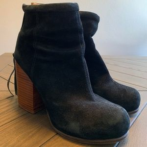 Jeffrey Campbell Black Suede Leather Ankle Boots